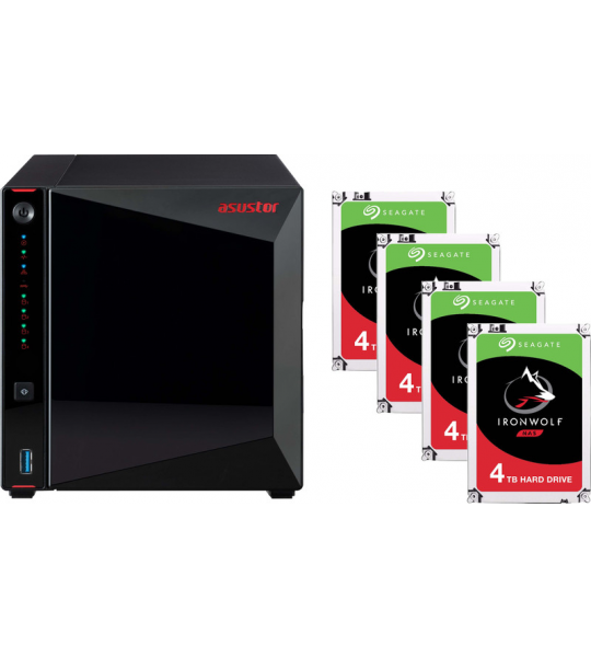 Asustor AS5304T + Seagate Ironwolf ST4000VN008 4 TB Quad Pack