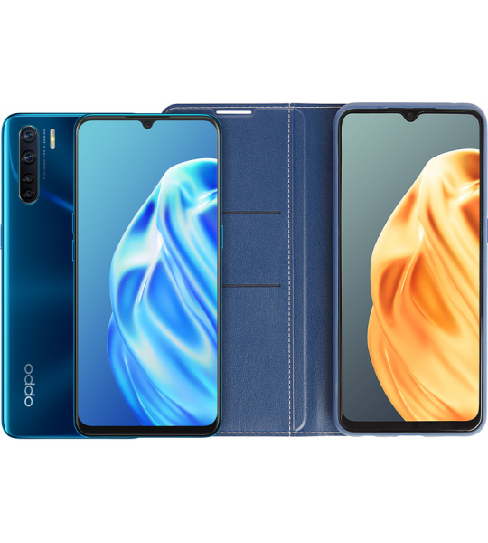 OPPO A91 128 GB Blauw + OPPO A91 Book Case Blauw
