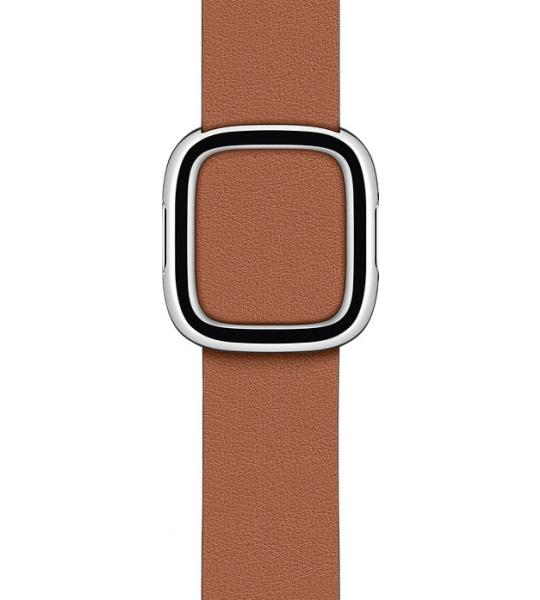 Apple Watch 38/40 mm Modern Leren Horlogeband Zadelbruin - Medium