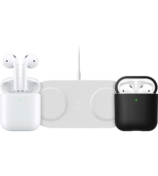 Apple AirPods 2 met draadloze oplaadcase + draadloze oplader + hoesje