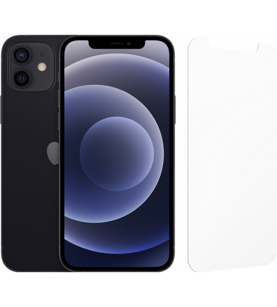 Apple iPhone 12 256GB Zwart + InvisibleShield Glass Elite Screenprotector