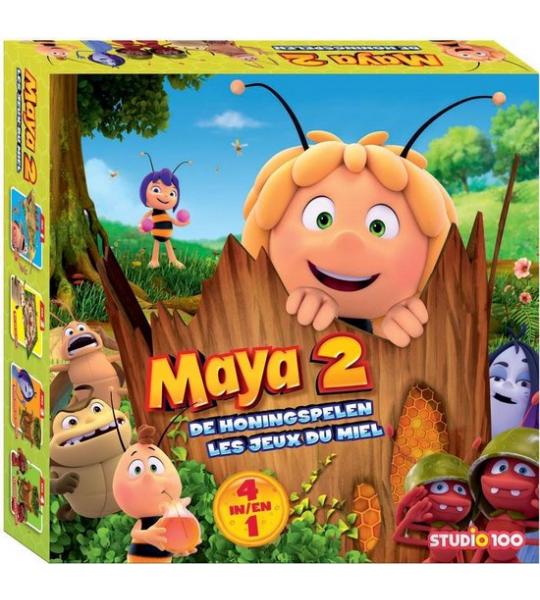 Maya - Bordspel - 4 in 1 - De Honingspelen - 4 spellen; Tikkertje met de bal, Op zoek naar de Trofee, Zoeven door de takken en De bomenrace