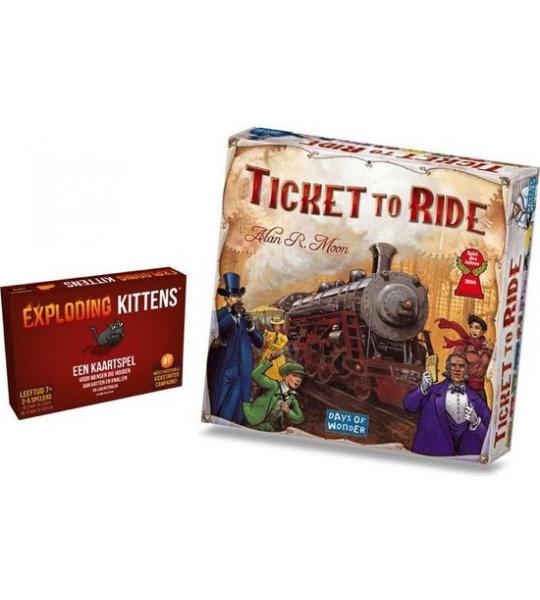 Spellenbundel Exploding Kittens Originele Editie - Nederlandstalig Kaartspel & Ticket to Ride USA - Bordspel Basisspel