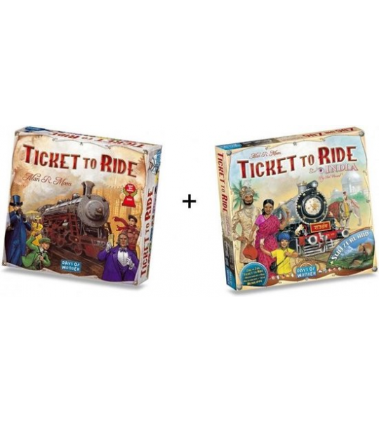 Spel - Ticket to Ride USA met uitbreiding Map Collection - India/Zwitserland - Combi Deal