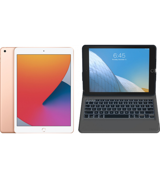 Apple iPad (2020) 10.2 inch 128 GB Wifi Goud + ZAGG Rugged Messenger Toetsenbord Hoes