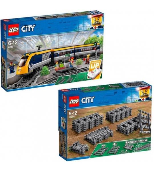 Bundelpakket: LEGO City passagierstrein 60197 + LEGO City treinrails 60205