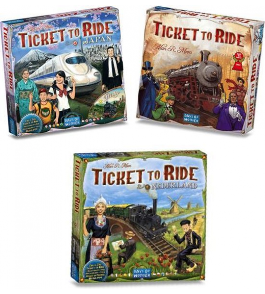 Mega Ticket to Ride Spellenbundel Inclusief Basisspel Ticket to Ride USA & uitbreidingen Japan/Italy & Nederland